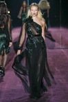 Applique velvet, brocade and chiffon gave a playfulness to Gucci's dark heroine.